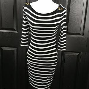 Ralph Lauren Black and White Striped Midi Dress